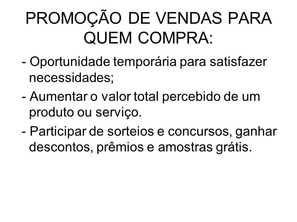 PROMOÇÃO DE VENDAS PARA QUEM COMPRA:
