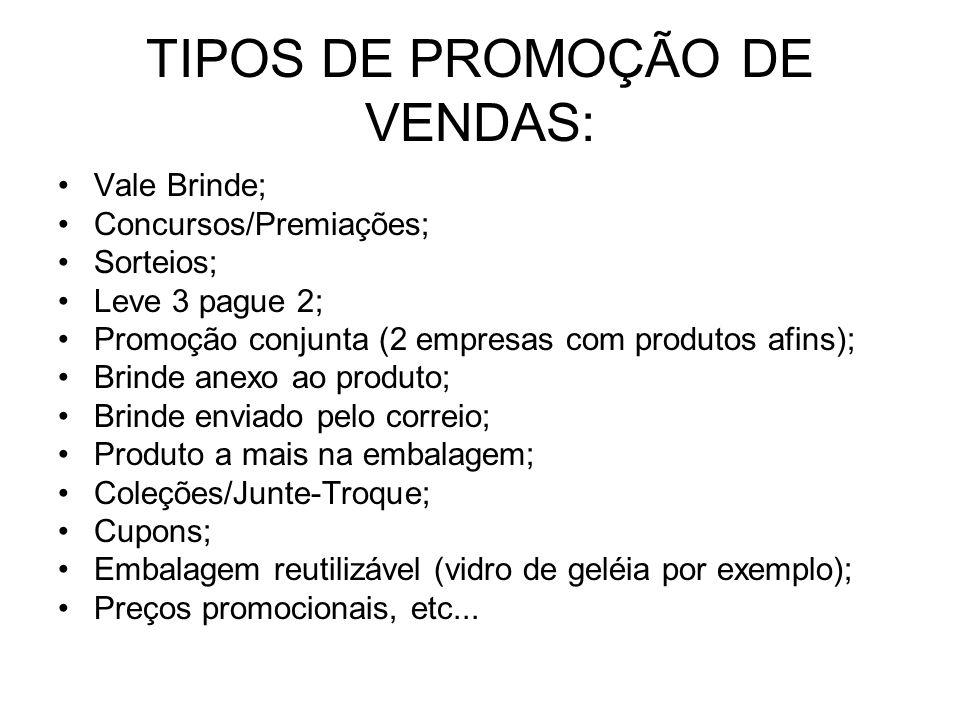 TIPOS DE PROMOÇÃO DE VENDAS: