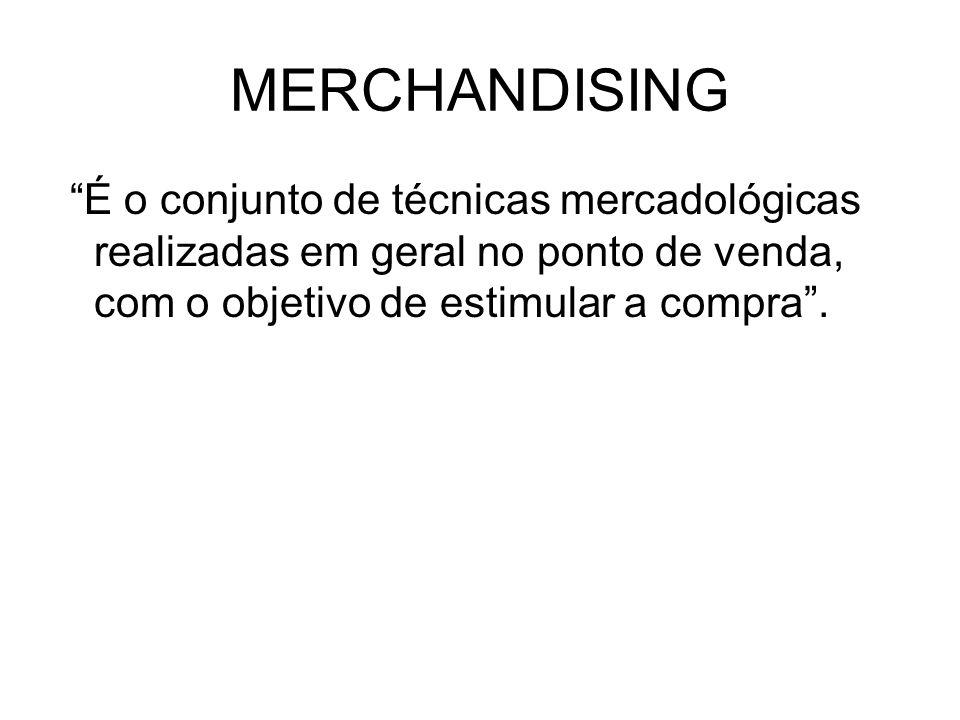 MERCHANDISING É o conjunto de técnicas mercadológicas realizadas em geral no ponto de venda, com o objetivo de estimular a compra .