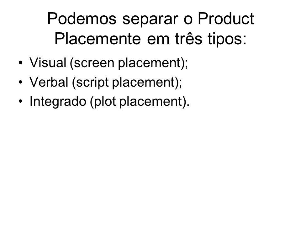 Podemos separar o Product Placemente em três tipos: