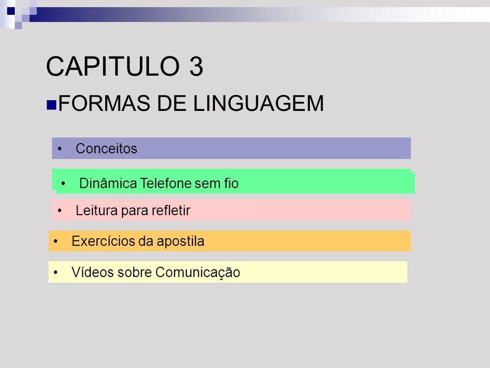 CAPITULO 3 FORMAS DE LINGUAGEM Conceitos Conceitos