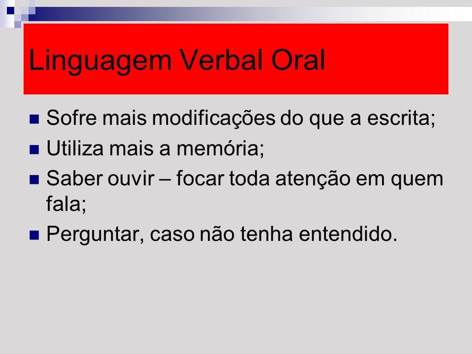 Linguagem Verbal Oral Sofre mais modificações do que a escrita;