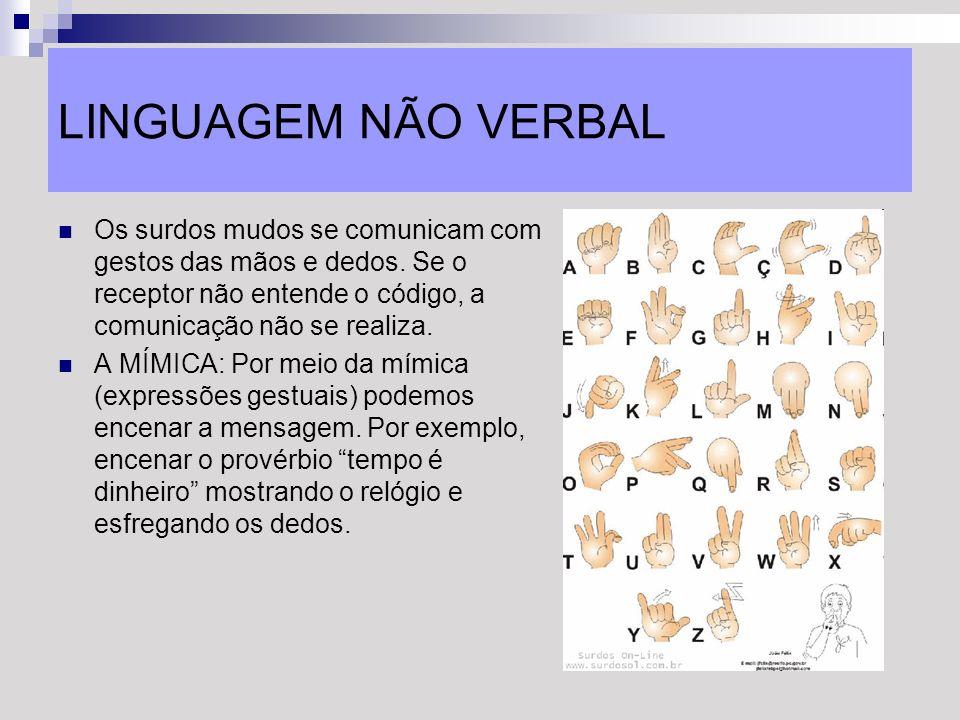 LINGUAGEM NÃO VERBALOs surdos mudos se comunicam com gestos das mãos e dedos. Se o receptor não entende o código, a comunicação não se realiza.