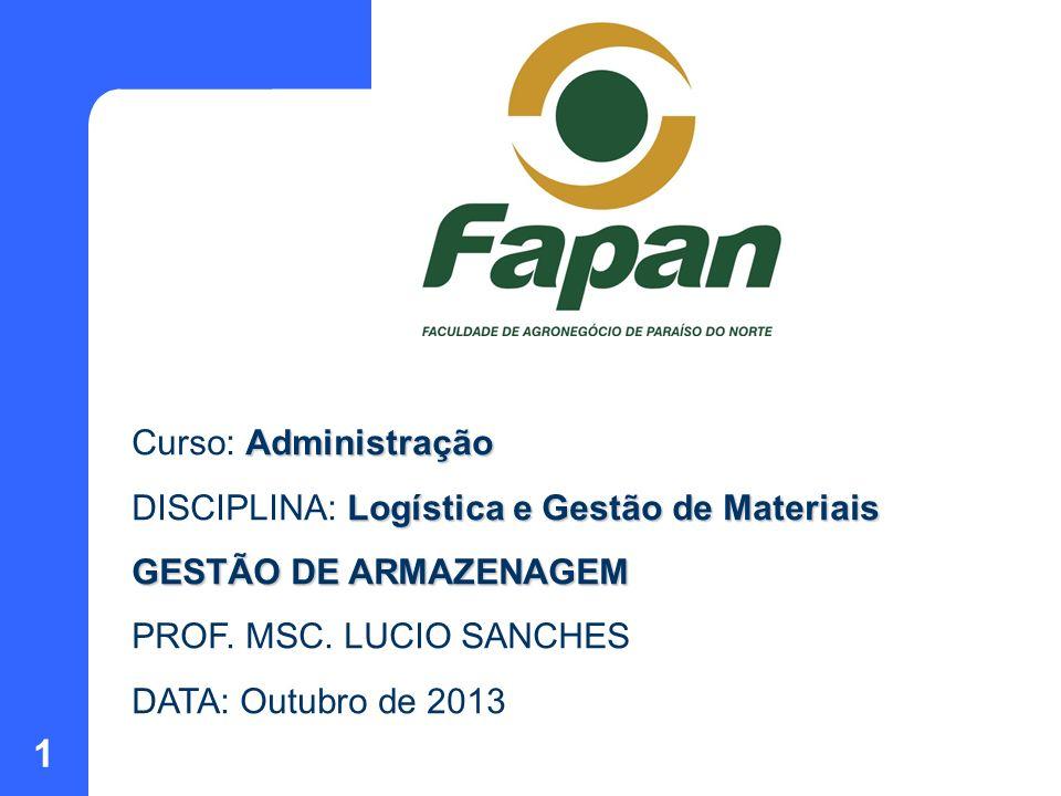 Curso: Administração DISCIPLINA: Logística e Gestão de Materiais. GESTÃO DE ARMAZENAGEM. PROF. MSC. LUCIO SANCHES.