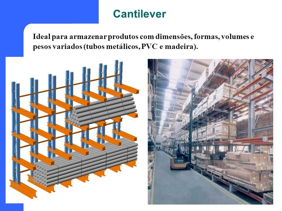 Cantilever Ideal para armazenar produtos com dimensões, formas, volumes e pesos variados (tubos metálicos, PVC e madeira).