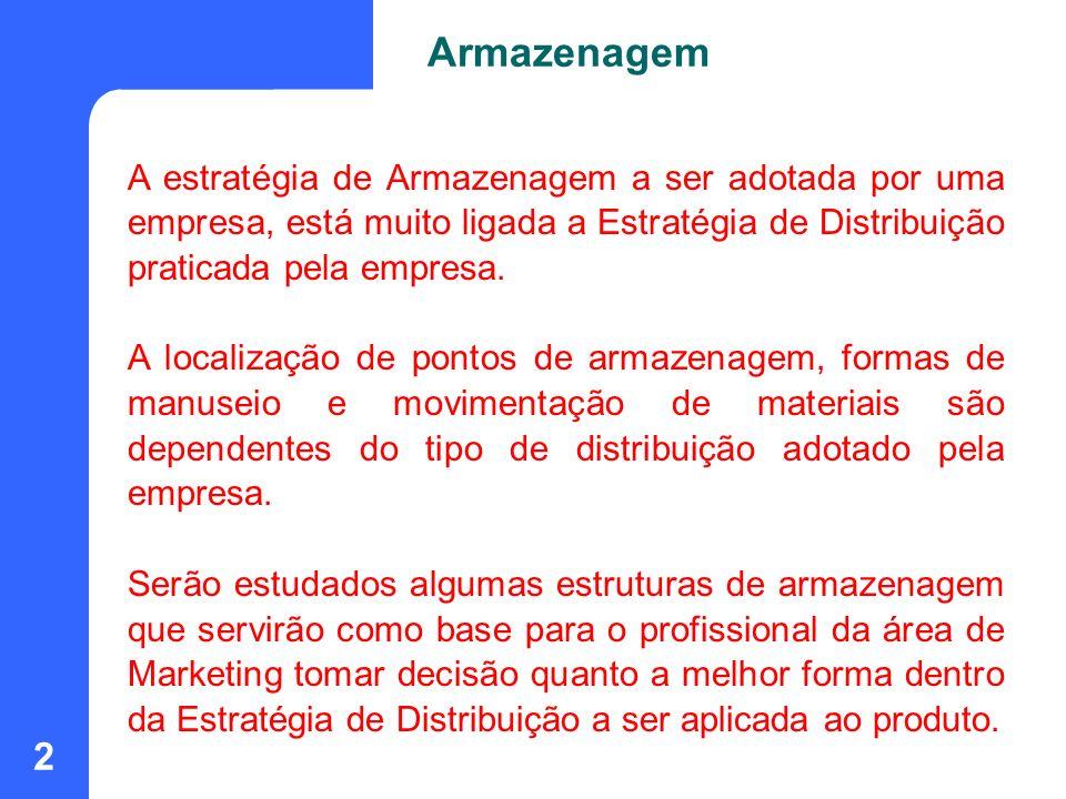 Armazenagem A estratégia de Armazenagem a ser adotada por uma empresa, está muito ligada a Estratégia de Distribuição praticada pela empresa.