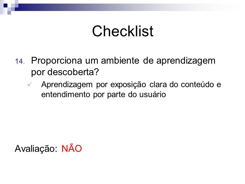 Checklist Proporciona um ambiente de aprendizagem por descoberta