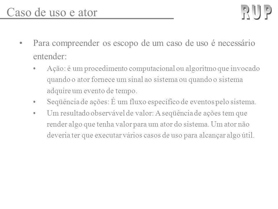 Caso de uso e ator RUP. Para compreender os escopo de um caso de uso é necessário entender:
