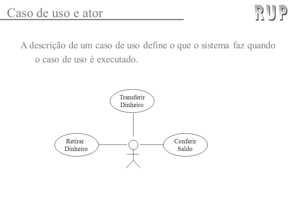 Caso de uso e ator RUP. A descrição de um caso de uso define o que o sistema faz quando o caso de uso é executado.