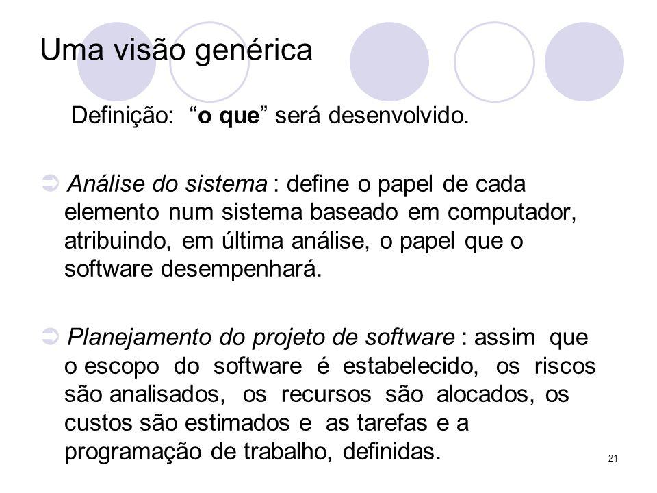 Uma visão genérica Definição: o que será desenvolvido.