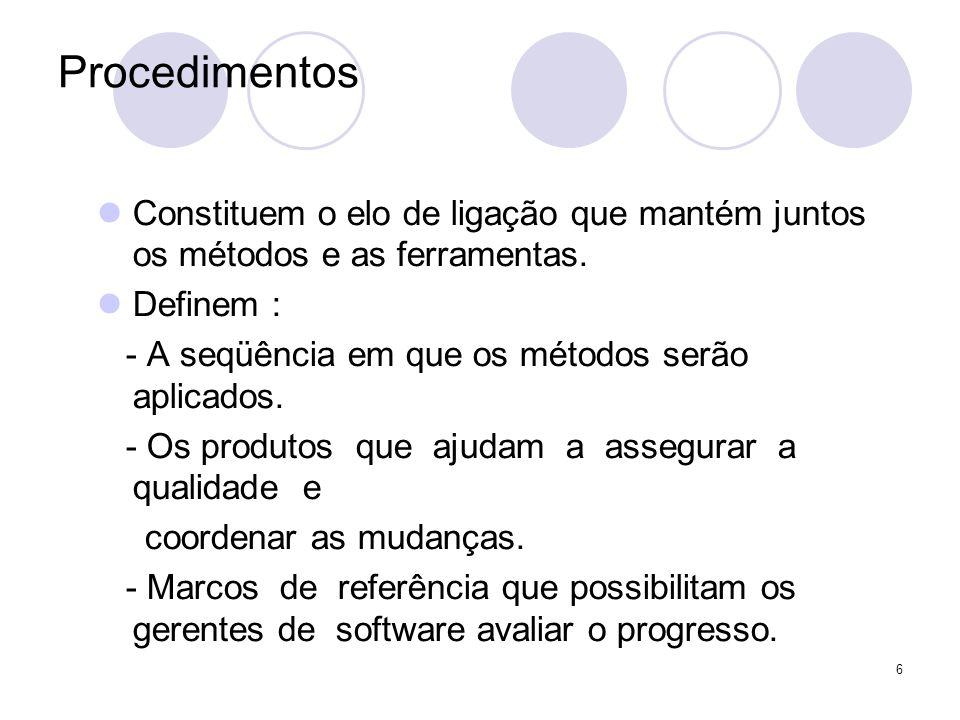 ProcedimentosConstituem o elo de ligação que mantém juntos os métodos e as ferramentas. Definem : - A seqüência em que os métodos serão aplicados.