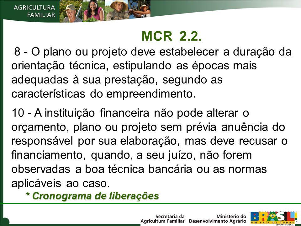 MCR 2.2. 8 - O plano ou projeto deve estabelecer a duração da orientação técnica, estipulando as épocas mais adequadas à sua prestação, segundo as características do empreendimento.