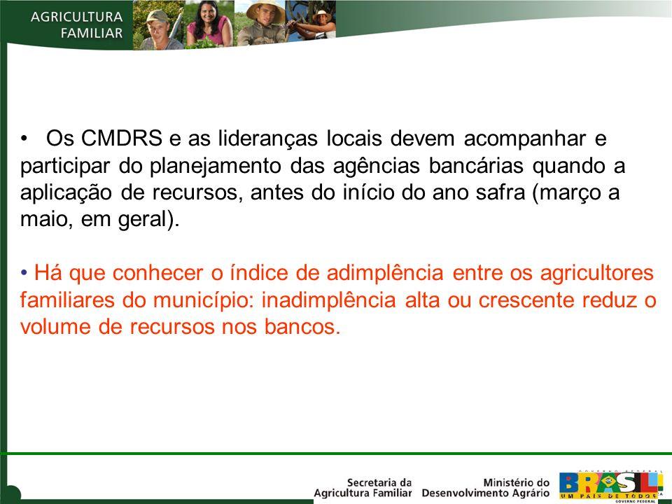 Os CMDRS e as lideranças locais devem acompanhar e participar do planejamento das agências bancárias quando a aplicação de recursos, antes do início do ano safra (março a maio, em geral).