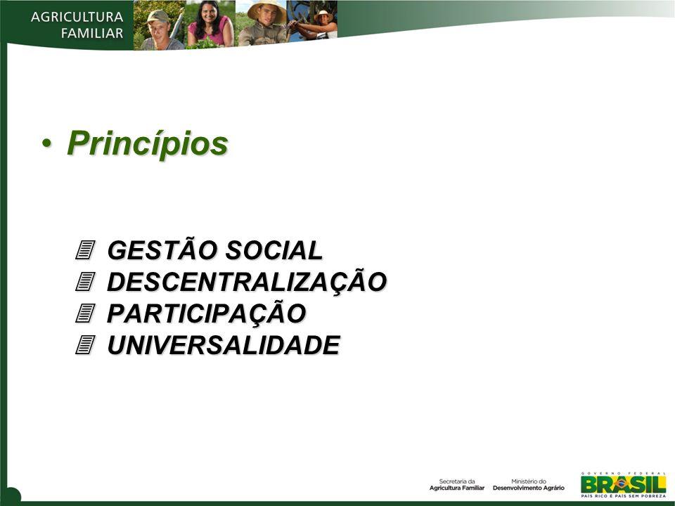 Princípios  GESTÃO SOCIAL  DESCENTRALIZAÇÃO  PARTICIPAÇÃO  UNIVERSALIDADE