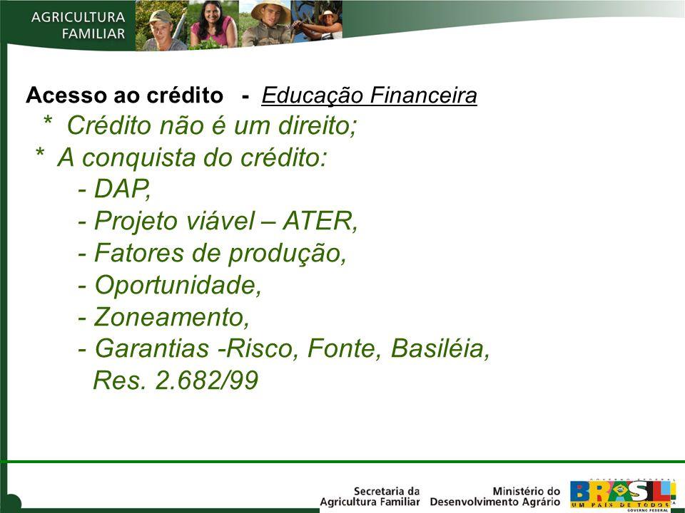 Acesso ao crédito - Educação Financeira. Crédito não é um direito;