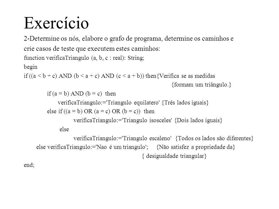 Exercício2-Determine os nós, elabore o grafo de programa, determine os caminhos e. crie casos de teste que executem estes caminhos: