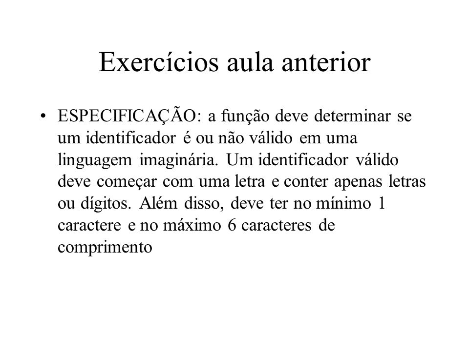 Exercícios aula anterior