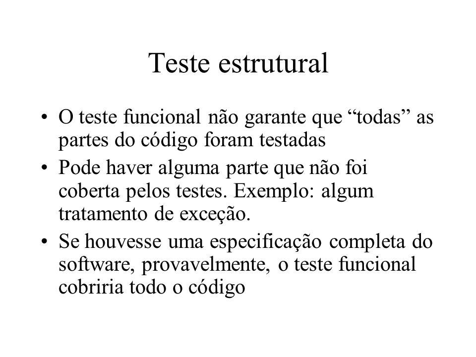 Teste estrutural O teste funcional não garante que todas as partes do código foram testadas.