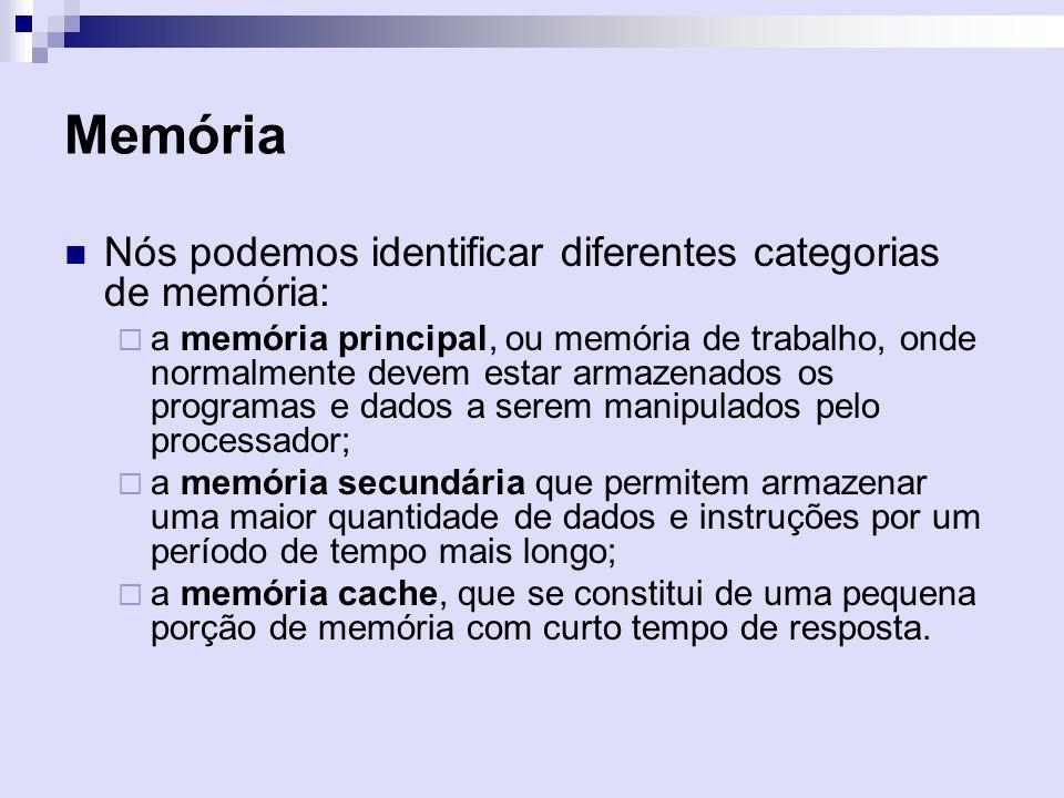 Memória Nós podemos identificar diferentes categorias de memória: