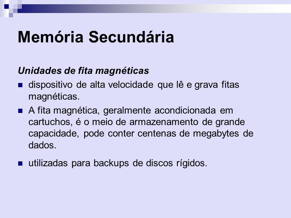 Memória Secundária Unidades de fita magnéticas
