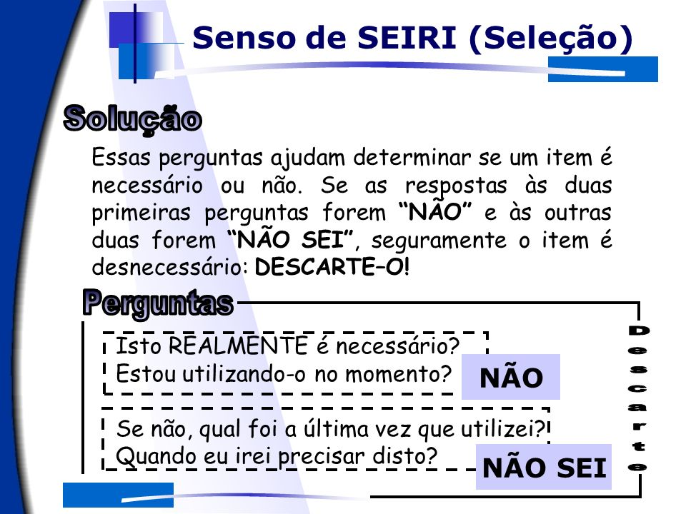 NÃO NÃO SEI O apoio computacional Senso de SEIRI (Seleção)