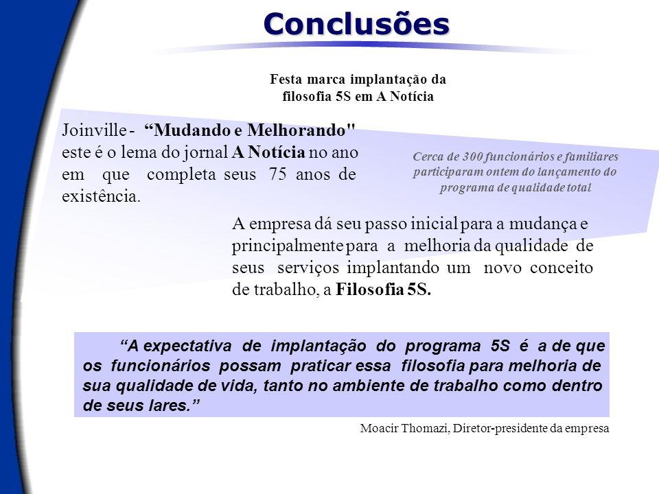 ConclusõesFesta marca implantação da filosofia 5S em A Notícia.
