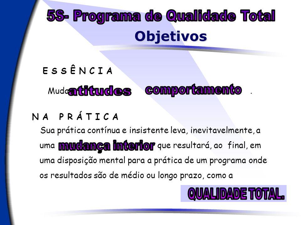 Objetivos 5S- Programa de Qualidade Total E S S Ê N C I A Mudar e .