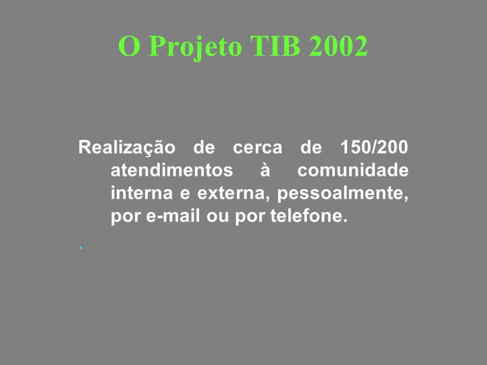 O Projeto TIB 2002 Realização de cerca de 150/200 atendimentos à comunidade interna e externa, pessoalmente, por e-mail ou por telefone.