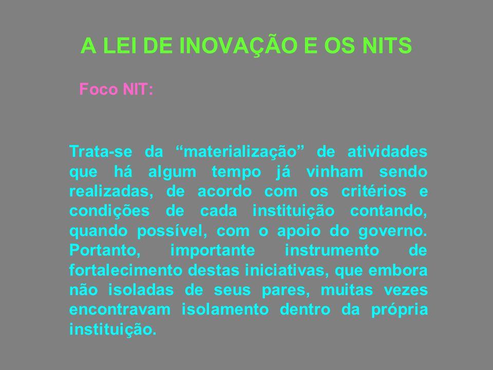 A LEI DE INOVAÇÃO E OS NITS