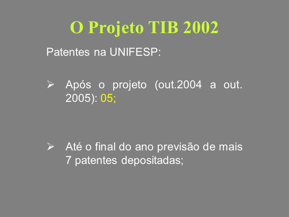 O Projeto TIB 2002 Patentes na UNIFESP:
