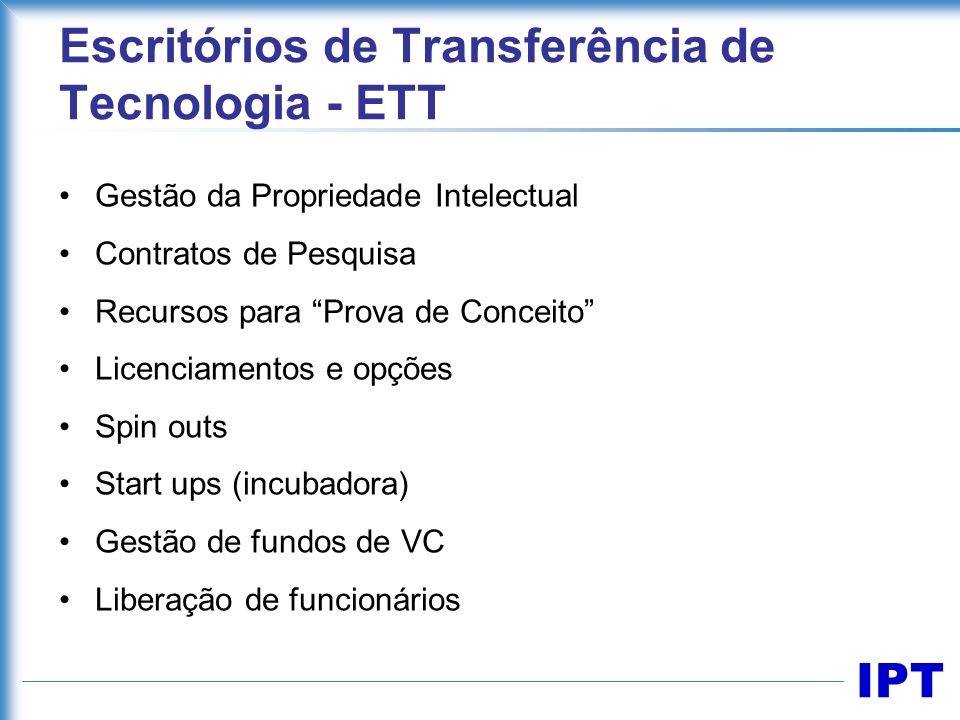 Escritórios de Transferência de Tecnologia - ETT