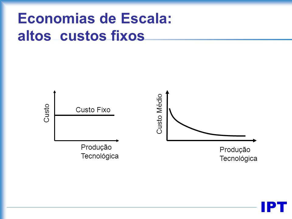 Economias de Escala: altos custos fixos
