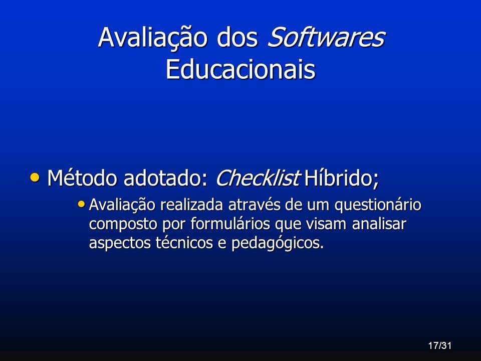 Avaliação dos Softwares Educacionais