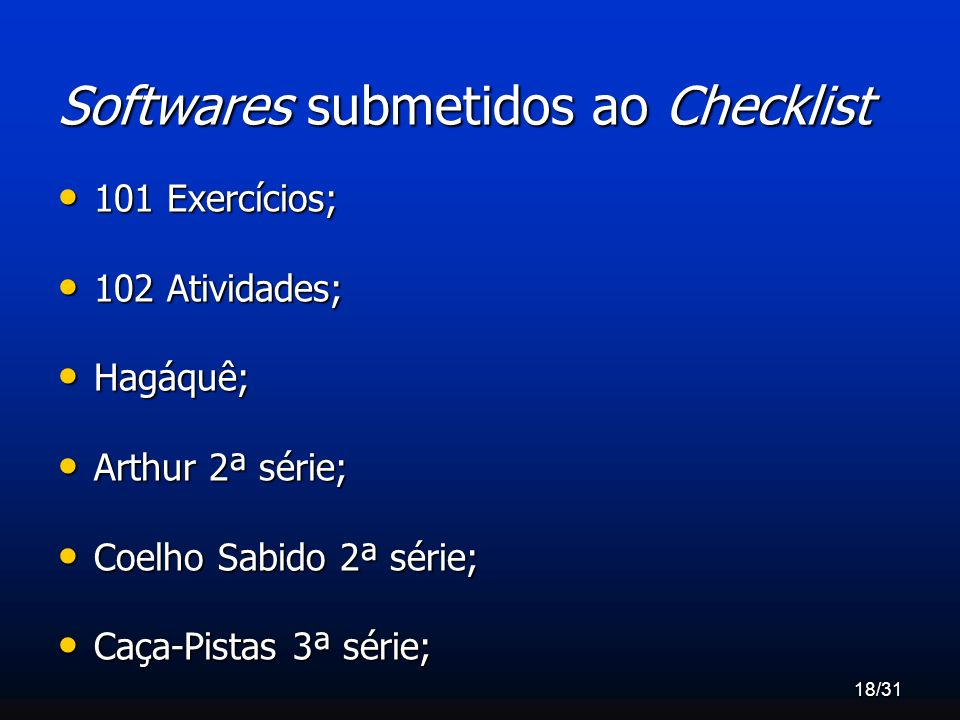 Softwares submetidos ao Checklist