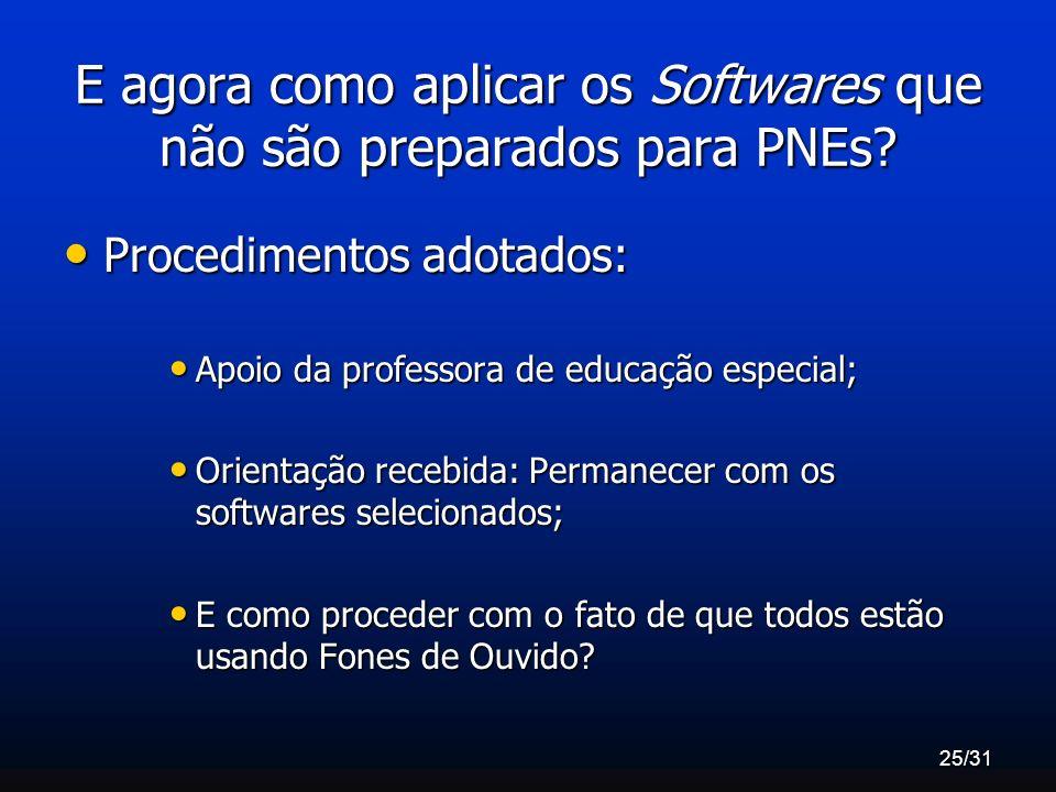 E agora como aplicar os Softwares que não são preparados para PNEs