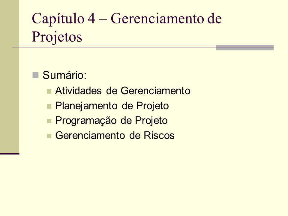 Capítulo 4 – Gerenciamento de Projetos
