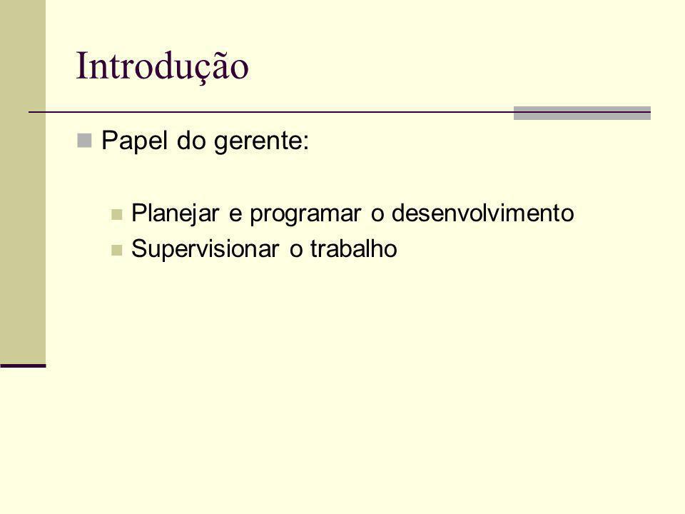 Introdução Papel do gerente: Planejar e programar o desenvolvimento