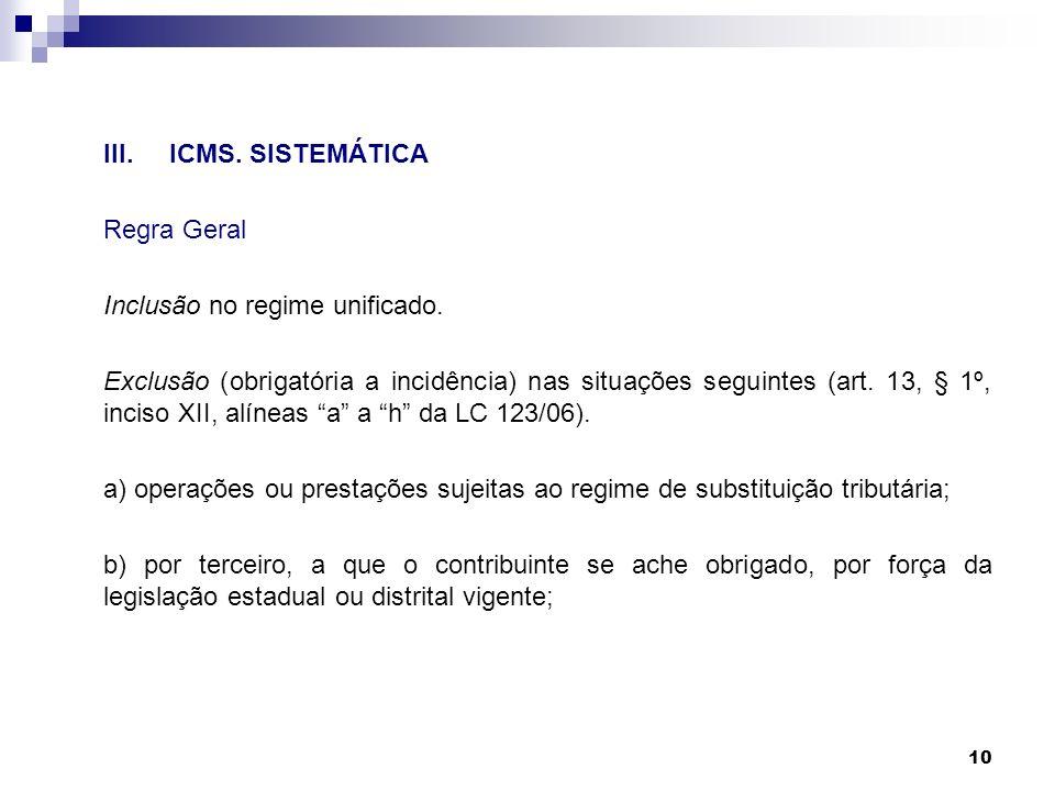 III. ICMS. SISTEMÁTICA Regra Geral. Inclusão no regime unificado.