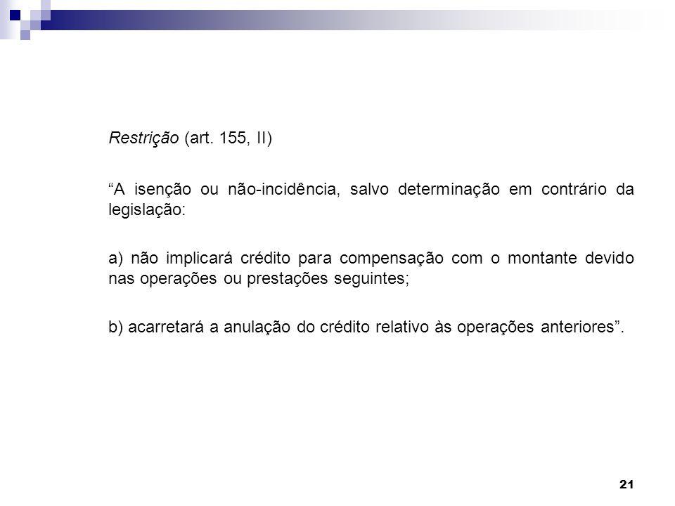 Restrição (art. 155, II) A isenção ou não-incidência, salvo determinação em contrário da legislação:
