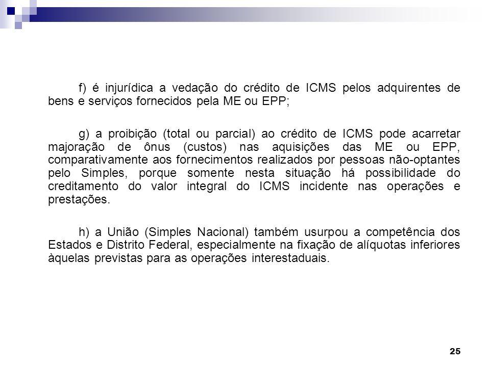 f) é injurídica a vedação do crédito de ICMS pelos adquirentes de bens e serviços fornecidos pela ME ou EPP;