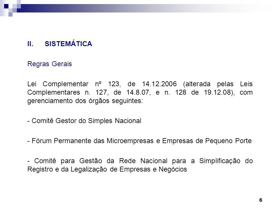 II. SISTEMÁTICA Regras Gerais.