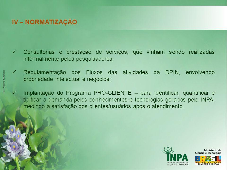 IV – NORMATIZAÇÃO Consultorias e prestação de serviços, que vinham sendo realizadas informalmente pelos pesquisadores;