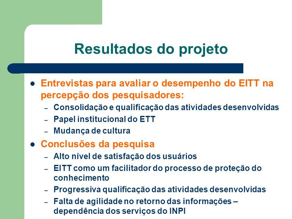 Resultados do projeto Entrevistas para avaliar o desempenho do EITT na percepção dos pesquisadores: