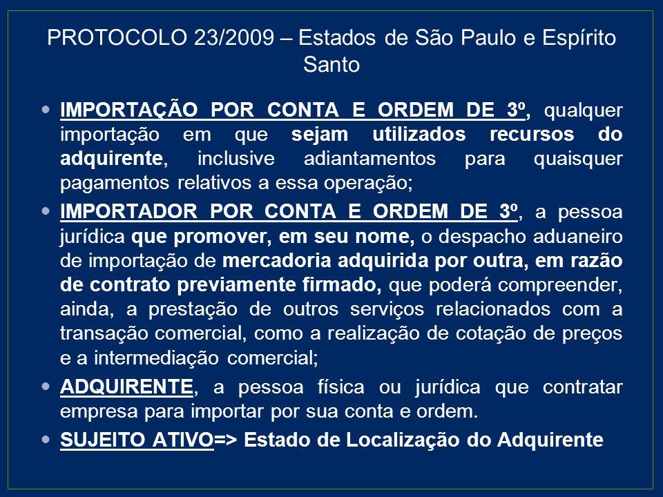 PROTOCOLO 23/2009 – Estados de São Paulo e Espírito Santo