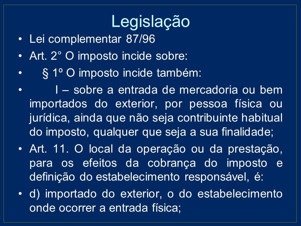 Legislação Lei complementar 87/96 Art. 2° O imposto incide sobre:
