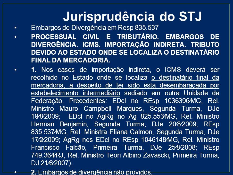 Jurisprudência do STJ Embargos de Divergência em Resp 835.537
