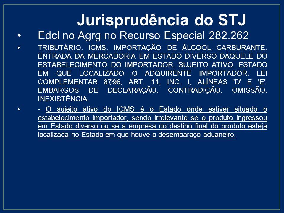 Jurisprudência do STJ Edcl no Agrg no Recurso Especial 282.262