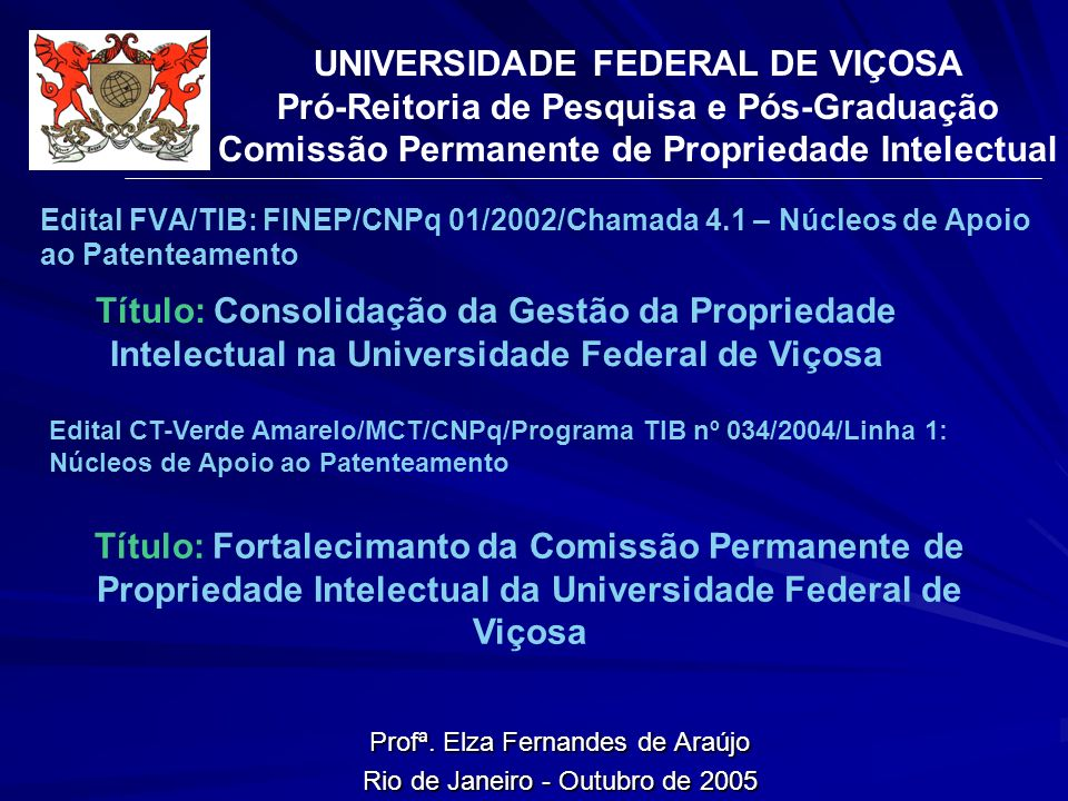 Profª. Elza Fernandes de Araújo Rio de Janeiro - Outubro de 2005