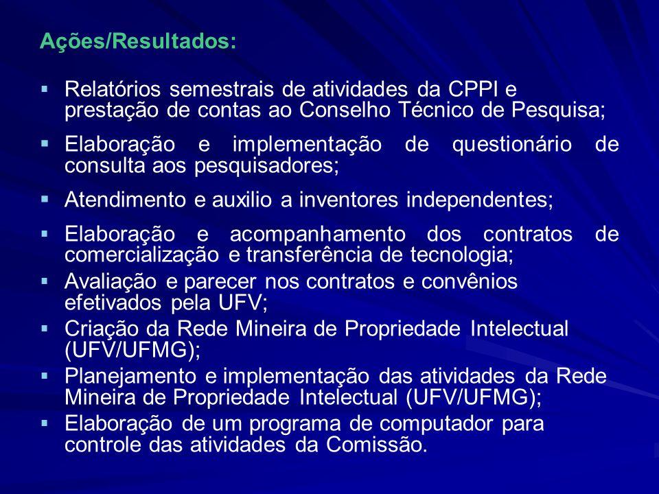 Ações/Resultados: Relatórios semestrais de atividades da CPPI e prestação de contas ao Conselho Técnico de Pesquisa;