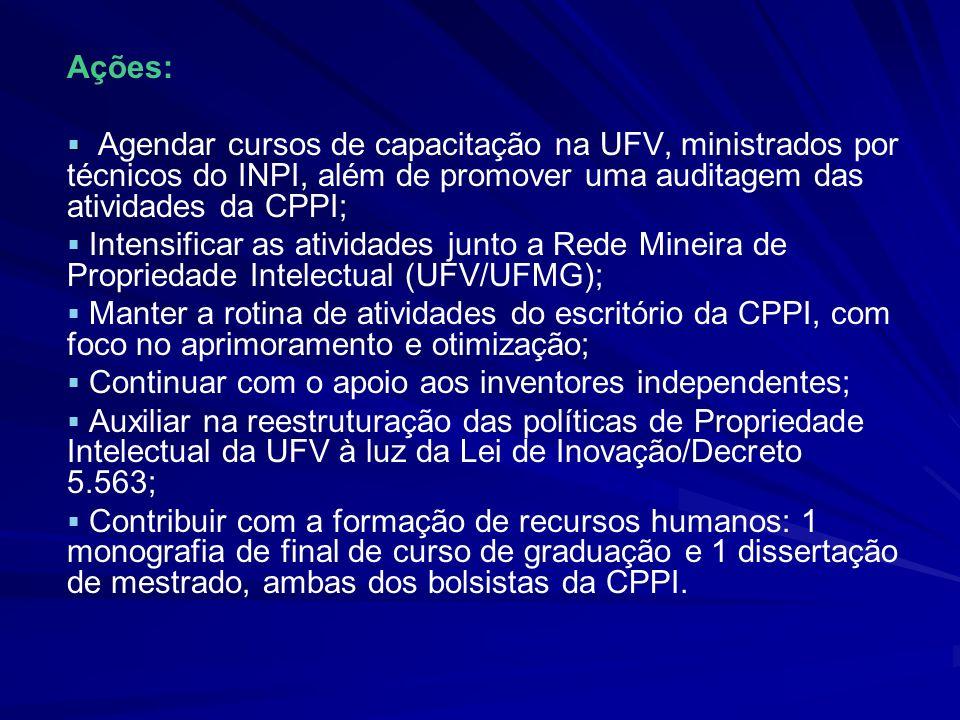 Ações: Agendar cursos de capacitação na UFV, ministrados por técnicos do INPI, além de promover uma auditagem das atividades da CPPI;